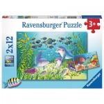 Ravensburger-07625 2 Puzzles - Auf dem Meeresgrund