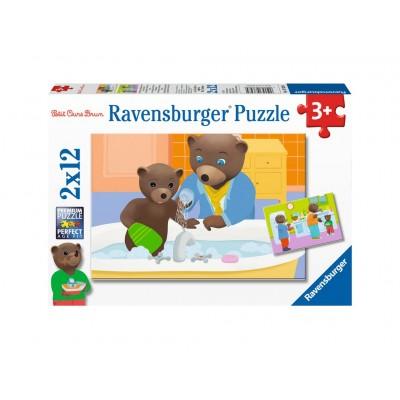 Ravensburger-07628 2 Puzzles - Der Kleine Braunbär