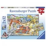 Ravensburger-07630 2 Puzzles - Baustelle