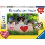 Ravensburger-07801 2 Puzzles - Verschlafene Kätzchen