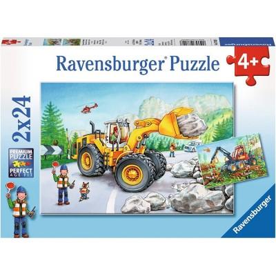 Ravensburger-07802 2 Puzzles - Bagger und Waldtraktor
