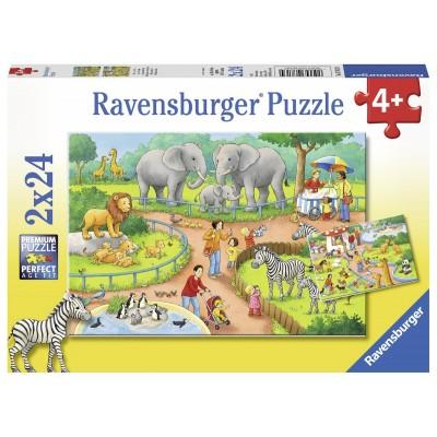 Ravensburger-07813 2 Puzzles - Ein Tag im Zoo