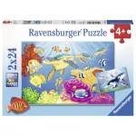 Ravensburger-07815 2 Puzzles - Kunterbunte Unterwasserwelt