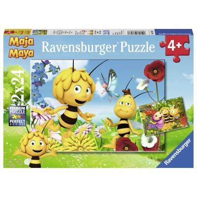 Ravensburger-07823 2 Puzzles - Biene Maja und Ihre Freunde