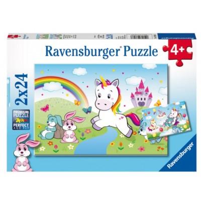 Ravensburger-07828 2 Puzzles - Einhorn