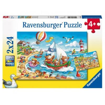 Ravensburger-07829 2 Puzzles - Urlaub am Meer