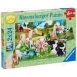 Ravensburger-07830 2 Puzzles - Tiere auf dem Bauernhof