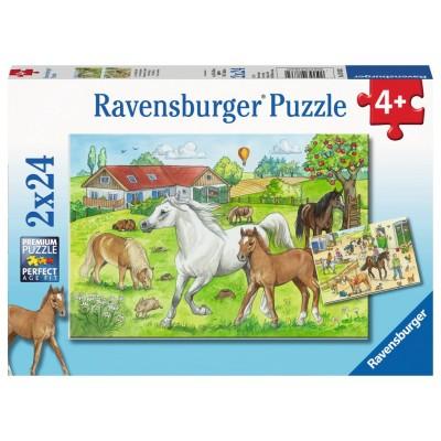 Ravensburger-07833 2 Puzzles - Auf dem Pferdehof
