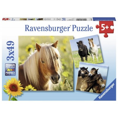Ravensburger-08011 3 Puzzles - Liebe Pferde