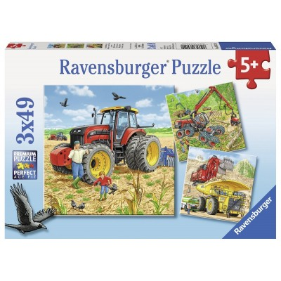 Ravensburger-08012 3 Puzzles - Große Maschinen