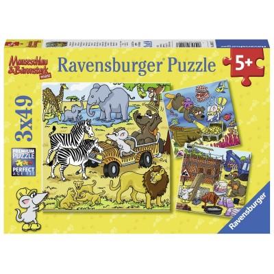 Ravensburger-08042 3 Puzzles - Abenteuer mit Mauseschlau und Bärenstark