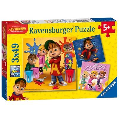 Ravensburger-08044 3 Puzzles - Alvinnn und Die Chipmunks