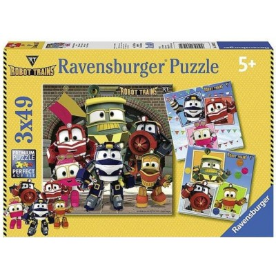 Ravensburger-08047 3 Puzzles - Robot Trains