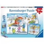 Ravensburger-08052 3 Puzzles - Auf der Skipiste
