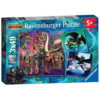 Ravensburger-08064 3 Puzzles - Dragon