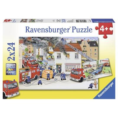 Ravensburger-08851 2 Puzzles - Bei der Feuerwehr