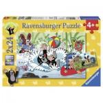Ravensburger-08863 2 Puzzles - Der kleine Maulwurf