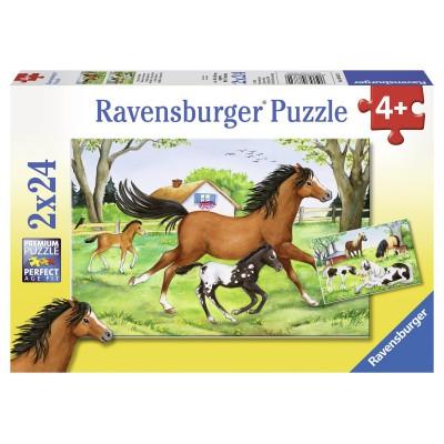 Ravensburger-08882 2 Puzzles - Welt der Pferde