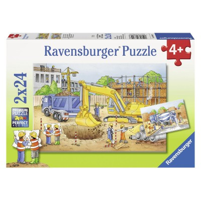 Ravensburger-08899 2 Puzzles - Auf der Baustelle