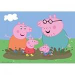 Ravensburger-09082 2 Puzzles - Peppa Pig Glückliches Familienleben