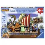 Ravensburger-09094 2 Puzzles - Wickie und seine Freunde