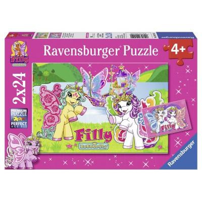 Ravensburger-09114 2 Puzzles - Filly: Im Reich von Scarlet