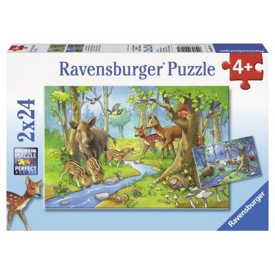 Ravensburger-09117 2 Puzzles - Tiere des Waldes