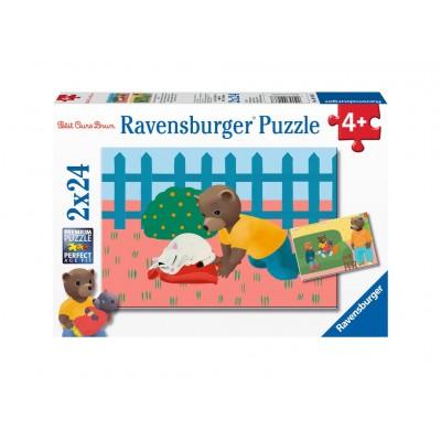 Ravensburger-09186 2 Puzzles - Der Kleine Braunbär