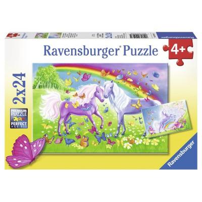 Ravensburger-09193 2 Puzzles - Regenbogenpferde