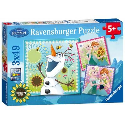 Ravensburger-09245 3 Puzzles - Frozen - Die Eiskönigin