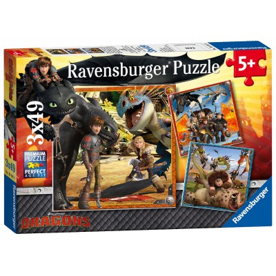 Ravensburger-09258 3 Puzzles - Dragons: Drachenreiter