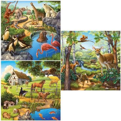 Ravensburger-09265 Puzzle 3 x 49 Teile - Zoo, wiilde und Haustiere