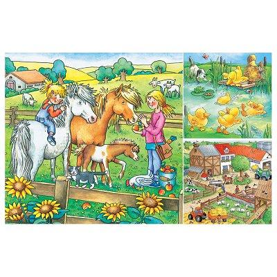 Ravensburger-09293 3 x 49 Teile Puzzleset - Bauernhoftiere