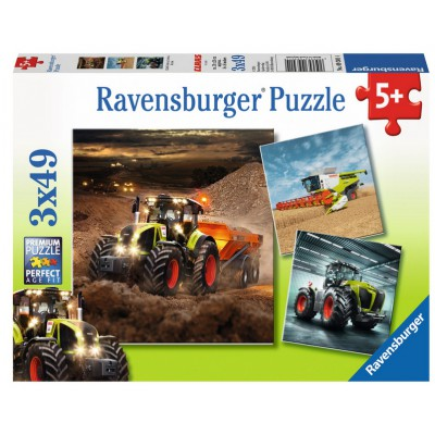 Ravensburger-09301 3 Puzzles - CLAAS: Axion, Lexion, Xerion