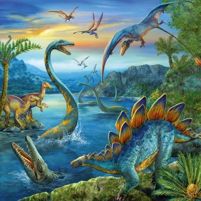 Ravensburger-09317 Puzzle 3 x 49 Teile - Faszination Dinosaurier