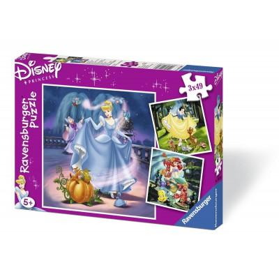 Ravensburger-09339 3 Puzzles - Disney Prinzessinnen