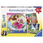 Ravensburger-09367 3 Puzzles - Welt der Fabelwesen