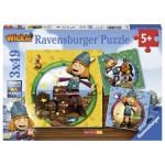 Ravensburger-09409 3 Puzzles - Wickie der kleine Wikinger