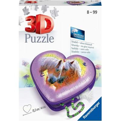 Ravensburger-11171 3D Puzzle - Herzschatulle - Pferde