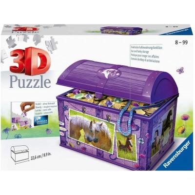 Ravensburger-11173 3D Puzzle - Schatztruhe - Pferde
