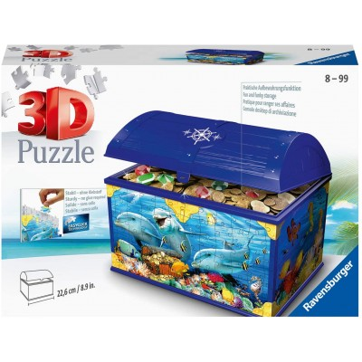 Ravensburger-11174 3D Puzzle - Schatztruhe Underwater World