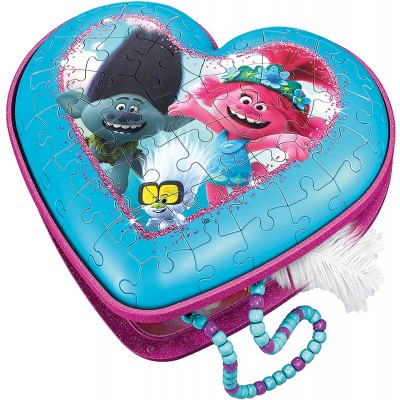 Ravensburger-11232 3D Puzzle - Heart-Shaped Box - Trolls