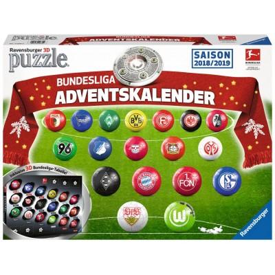 Ravensburger-11679 3D Puzzle - Adventskalender Bundesliga - Saison 2018 / 2019