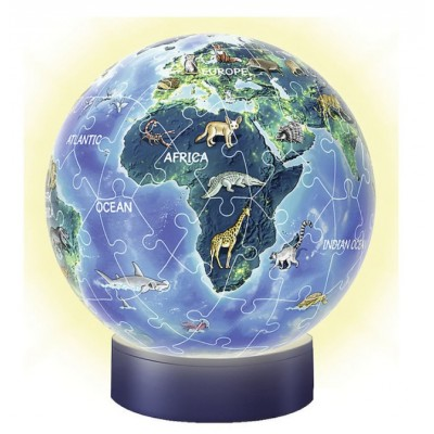 Ravensburger-11844 3D Puzzle-Ball mit LED - Erde im Nachtdesign