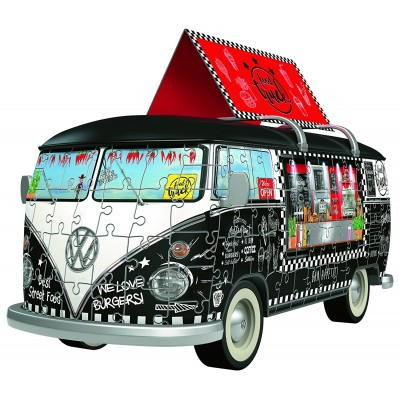 Ravensburger-12525 3D Puzzle - Volkswagen T1 - Food Truck