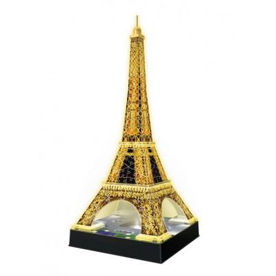 Ravensburger-12579 3D Puzzle - Eiffelturm bei Nacht, mit LED
