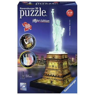 Ravensburger-12596 3D Puzzle - Freiheitsstatue bei Nacht