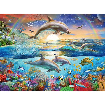 Puzzle  Ravensburger-12895 Dolphin Paradise