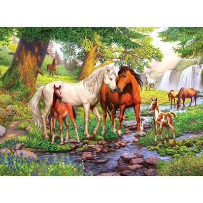 Puzzle  Ravensburger-12904 XXL Teile - Wildpferde am Fluss