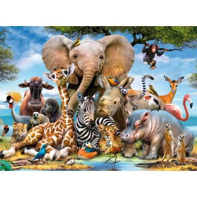 Puzzle Ravensburger-13075 Junge Dschungeltiere